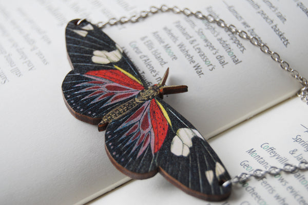 Doris Longwing Butterfly Necklace  | Butterfly Charm Necklace | Woodland Forest Butterfly - Enchanted Leaves - Nature Jewelry - Unique Handmade Gifts