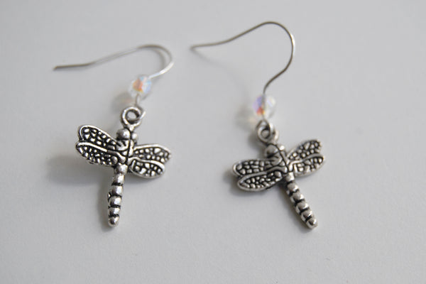 Dragonfly Earrings | Cute Dragonfly Charm Earrings | Forest Jewelry - Enchanted Leaves - Nature Jewelry - Unique Handmade Gifts