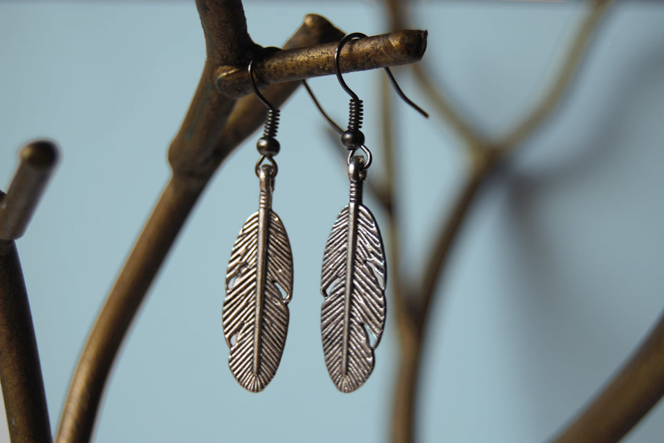 Silver Feather Earrings | Feather Charm Earrings - Enchanted Leaves - Nature Jewelry - Unique Handmade Gifts