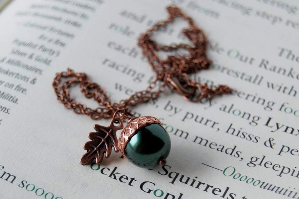 Forest & Copper Acorn Necklace | Nature Jewelry | Woodland Pearl Acorn | Fall Acorn Charm Necklace - Enchanted Leaves - Nature Jewelry - Unique Handmade Gifts