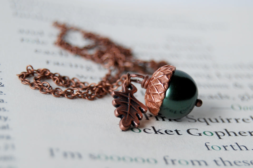 Forest and Copper Pearl Acorn Necklace | Pearl Acorn Necklace | Cute Acorn Charm Necklace | Woodland Forest Necklace - Enchanted Leaves - Nature Jewelry - Unique Handmade Gifts