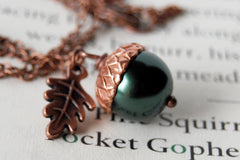 Forest and Copper Pearl Acorn Necklace | Pearl Acorn Necklace | Cute Acorn Charm Necklace | Woodland Forest Necklace