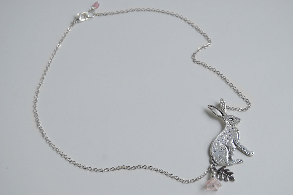 Forest Rabbit Necklace | Large Silver Rabbit Pendant | Cute Bunny Necklace - Enchanted Leaves - Nature Jewelry - Unique Handmade Gifts