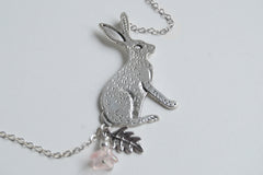 Forest Rabbit Necklace | Large Silver Rabbit Pendant | Cute Bunny Necklace