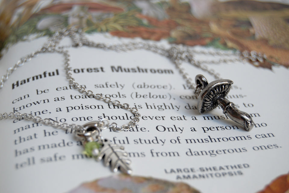 Forest Mushroom Necklace | Silver Mushroom Pendant | Forest Toadstool Necklace - Enchanted Leaves - Nature Jewelry - Unique Handmade Gifts