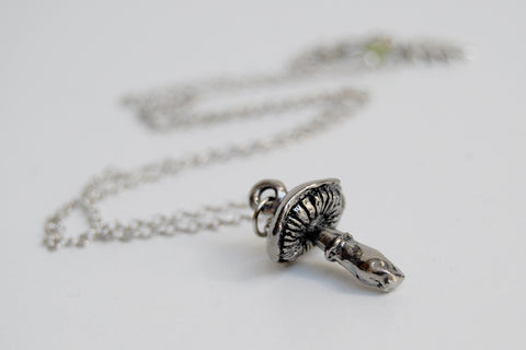 Forest Mushroom Necklace | Silver Mushroom Pendant | Forest Toadstool Necklace
