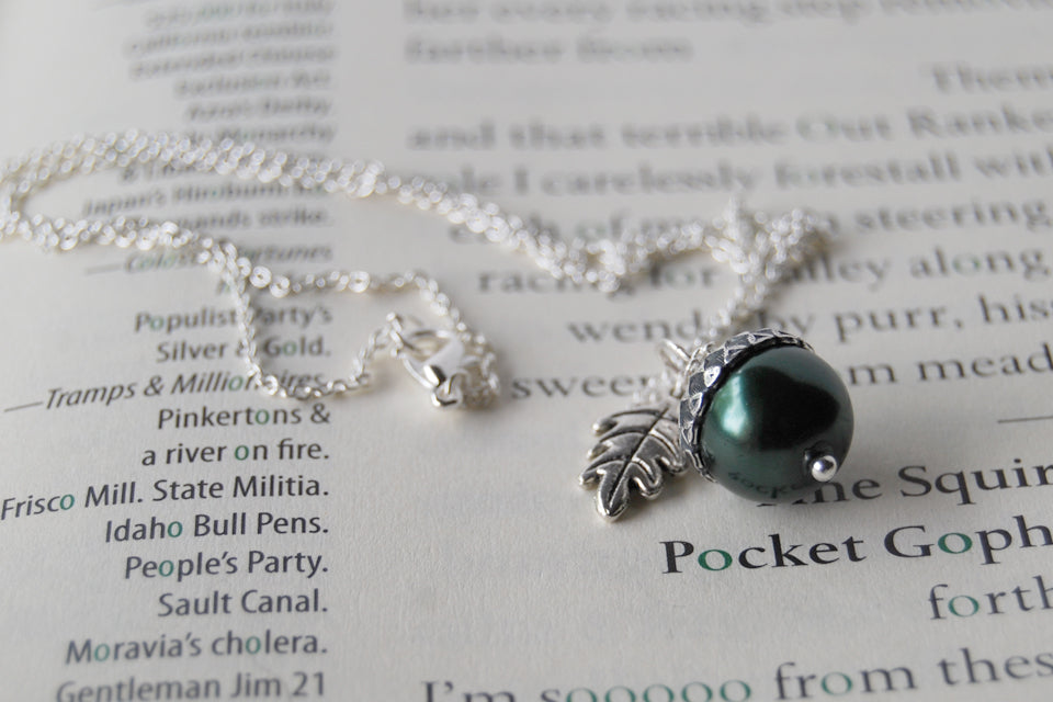 Forest and Silver Pearl Acorn Necklace | Pearl Acorn Necklace | Cute Acorn Charm Necklace | Woodland Forest Necklace - Enchanted Leaves - Nature Jewelry - Unique Handmade Gifts