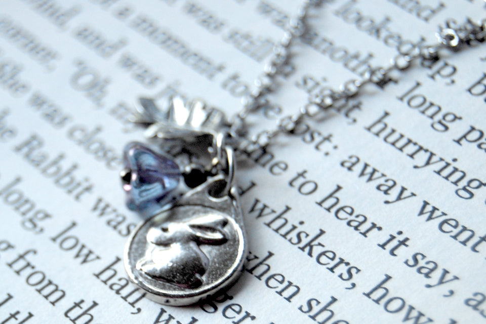 Garden Bunny Rabbit Necklace | Little Silver Bunny Charm Necklace | Woodland Jewelry - Enchanted Leaves - Nature Jewelry - Unique Handmade Gifts