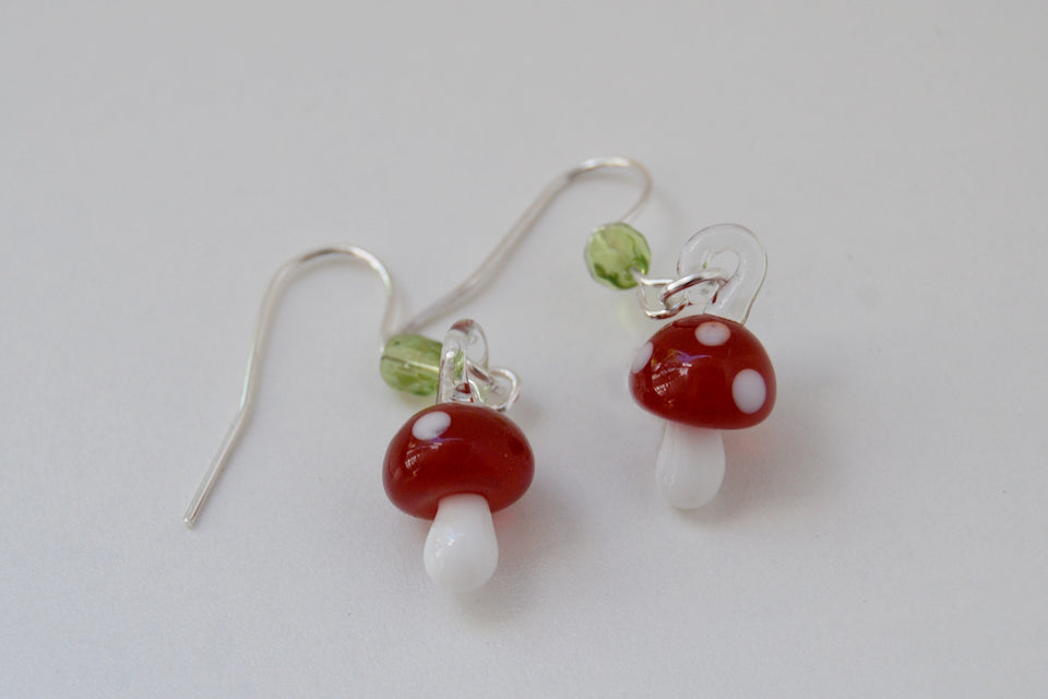 Tiny Glass Mushroom Earrings - Enchanted Leaves - Nature Jewelry - Unique Handmade Gifts