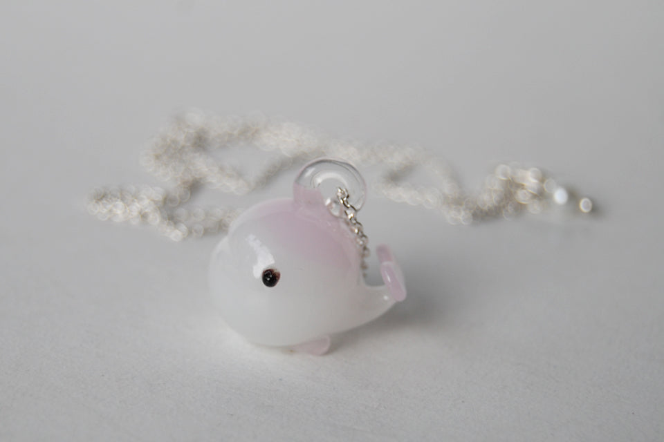 Polly the Plump Pink Whale | Glass Whale Charm Necklace - Enchanted Leaves - Nature Jewelry - Unique Handmade Gifts