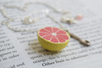 Fresh Grapefruit Necklace | Handmade Grapefruit Charm Jewelry - Enchanted Leaves - Nature Jewelry - Unique Handmade Gifts