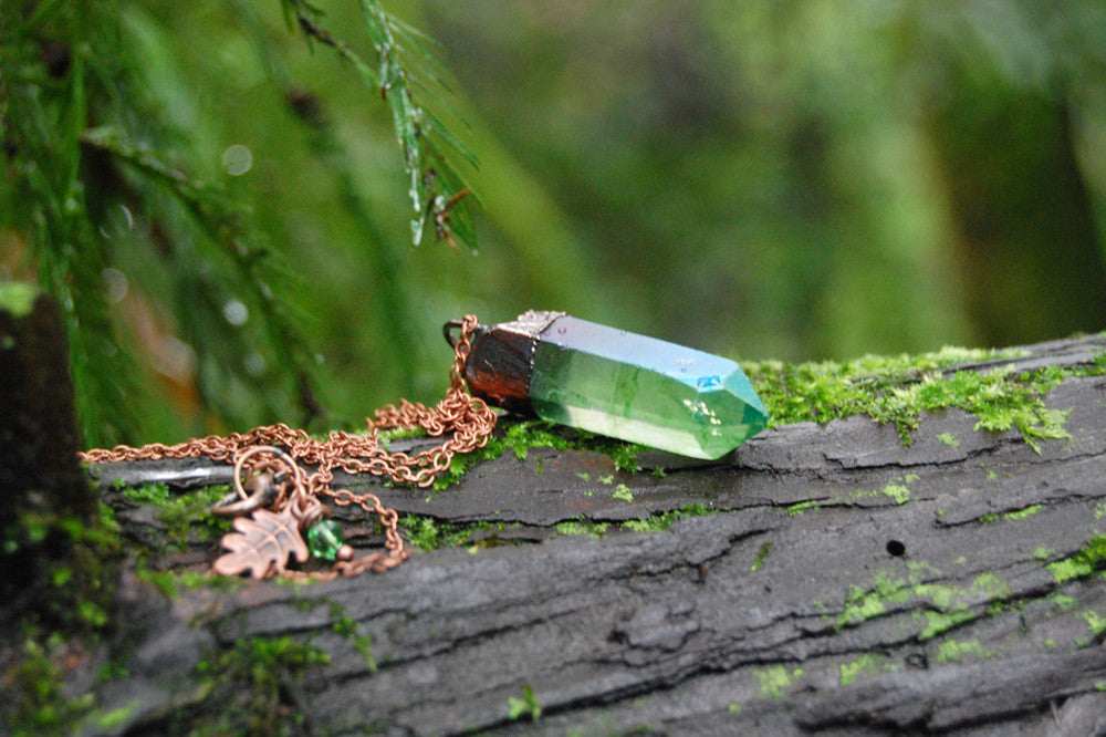 Green Forest Aura Crystal Necklace | Electroformed Crystal Necklace | Green Quartz Pendant - Enchanted Leaves - Nature Jewelry - Unique Handmade Gifts