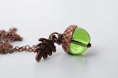 Green Glass Acorn Necklace