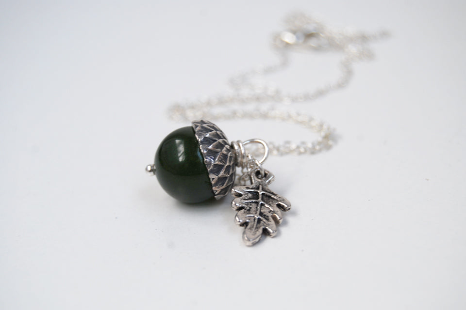 Green Jade and Silver Acorn Necklace | Cute Nature Acorn Charm Necklace | Forest Acorn Necklace | Woodland Gemstone Acorn | Nature Jewelry - Enchanted Leaves - Nature Jewelry - Unique Handmade Gifts