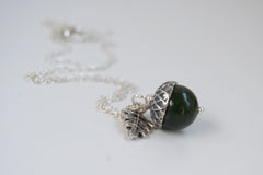 Green Jade and Silver Acorn Necklace | Cute Nature Acorn Charm Necklace | Forest Acorn Necklace | Woodland Gemstone Acorn | Nature Jewelry