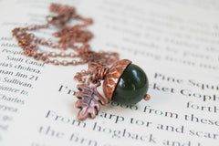 Green Jade and Copper Acorn Necklace
