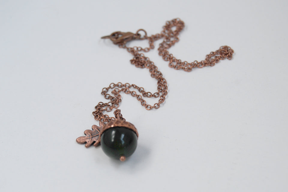 Green Jade and Copper Acorn Necklace | Cute Nature Acorn Charm Necklace | Forest Acorn Necklace | Woodland Gemstone Acorn | Nature Jewelry - Enchanted Leaves - Nature Jewelry - Unique Handmade Gifts