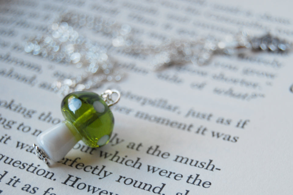 Green 1Up Mushroom Necklace | Green Glass Toadstool Necklace | Glass Mushroom Pendant - Enchanted Leaves - Nature Jewelry - Unique Handmade Gifts