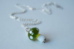 Green 1Up Mushroom Necklace | Green Glass Toadstool Necklace | Glass Mushroom Pendant