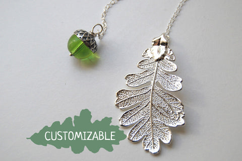 Silver Oak Leaf and Acorn Lariat | Electroformed Nature | Fall Leaf Lariat