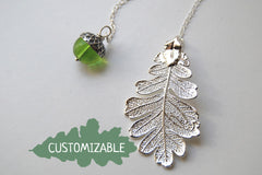 Silver Oak Leaf and Acorn Lariat