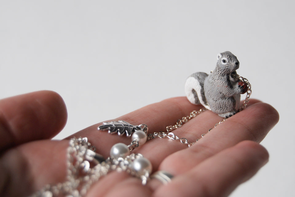 Grey Squirrel Necklace | Cute Squirrel Charm Necklace | Fall Jewelry - Enchanted Leaves - Nature Jewelry - Unique Handmade Gifts