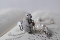 Grey Squirrel Necklace | Cute Squirrel Charm Necklace | Fall Jewelry