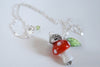 Hedgehog on a Mushroom Necklace | Cute Woodland Forest Hedgehog Necklace | Glass Toadstool Necklace