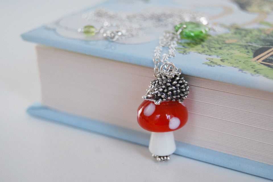 Hedgehog on a Mushroom Necklace | Cute Woodland Forest Hedgehog Necklace | Glass Toadstool Necklace - Enchanted Leaves - Nature Jewelry - Unique Handmade Gifts
