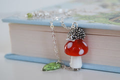 Hedgehog on a Mushroom Necklace