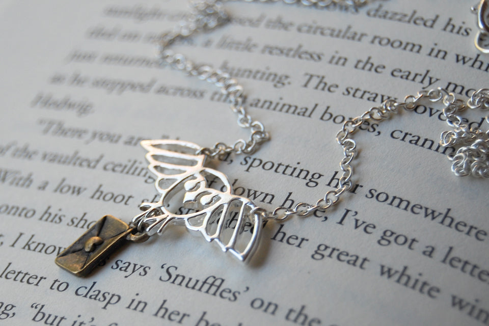 Long Live Hedwig! | Harry Potter Necklace | Owl Post Necklace | Hedwig Necklace - Enchanted Leaves - Nature Jewelry - Unique Handmade Gifts