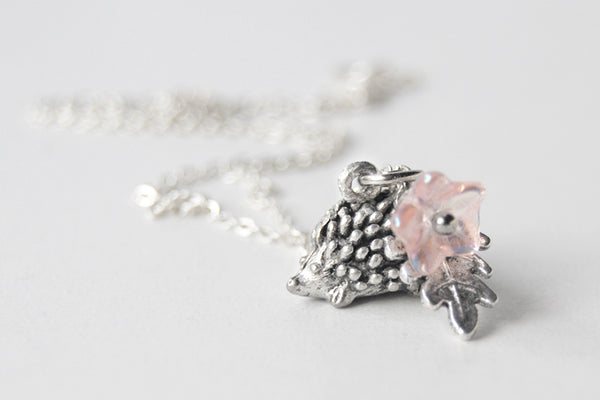 Holly the Hedgehog | Cute Hedgehog Charm Necklace | Silver Hedgehog - Enchanted Leaves - Nature Jewelry - Unique Handmade Gifts