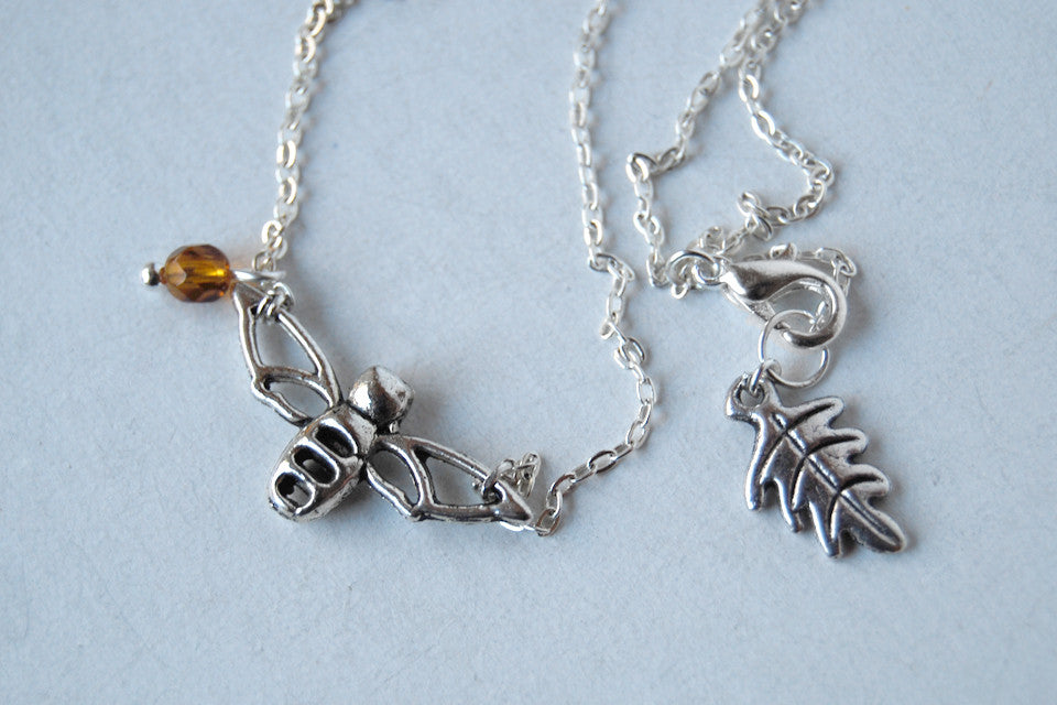 Sweet Honey Bee Charm Necklace - Enchanted Leaves - Nature Jewelry - Unique Handmade Gifts