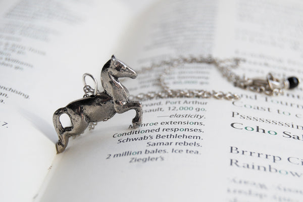 Galloping Horse Necklace | Silver Horse Pendant | Cute Equestrian Jewelry - Enchanted Leaves - Nature Jewelry - Unique Handmade Gifts