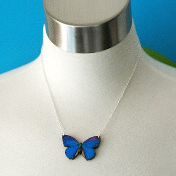 Blue Morpho Butterfly Necklace | Magical Butterfly Pendant | Butterfly Jewelry - Enchanted Leaves - Nature Jewelry - Unique Handmade Gifts