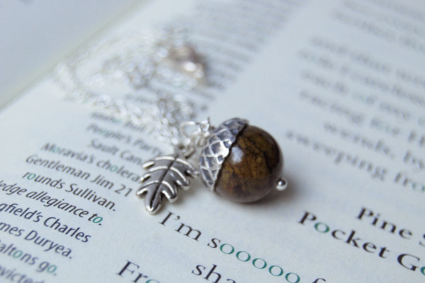 Brown Jasper and Silver Acorn Necklace | Gemstone Acorn Charm Necklace | Cute Autumn Necklace | Nature Jewelry - Enchanted Leaves - Nature Jewelry - Unique Handmade Gifts