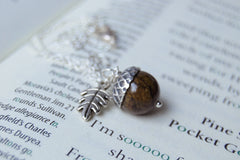 Brown Jasper and Silver Acorn Necklace | Gemstone Acorn Charm Necklace | Cute Autumn Necklace | Nature Jewelry