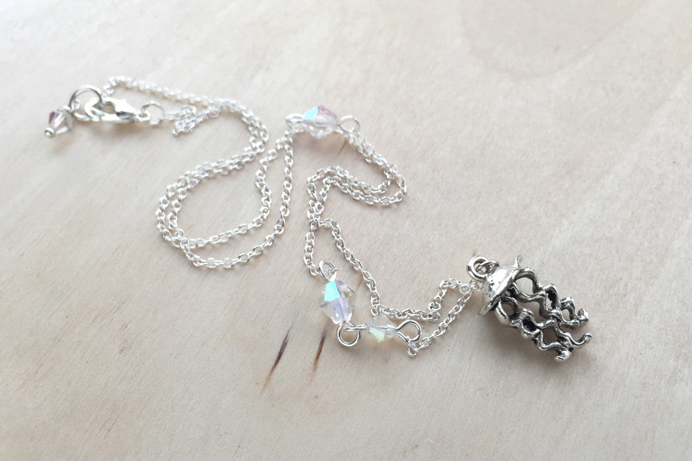 Jellyfish Necklace | Nautical Jewelry | Silver Jellyfish Charm Necklace - Enchanted Leaves - Nature Jewelry - Unique Handmade Gifts