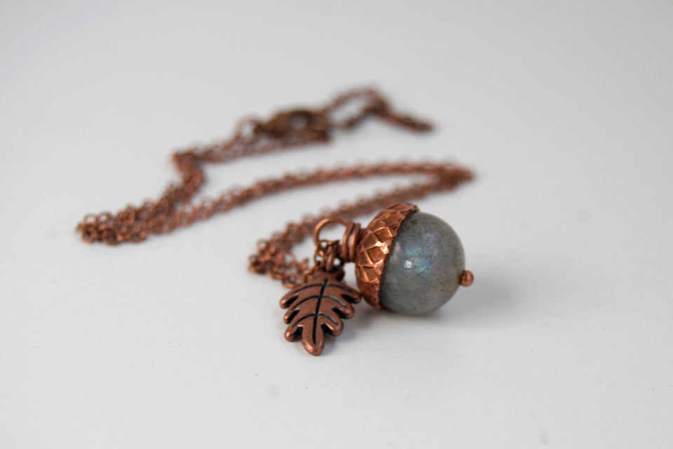 Labradorite and Copper Acorn Necklace | Cute Nature Acorn | Forest Acorn Necklace | Nature Jewelry - Enchanted Leaves - Nature Jewelry - Unique Handmade Gifts