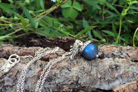 Labradorite and Silver Acorn Necklace | Cute Nature Acorn Charm Necklace | Forest Acorn Necklace | Woodland Gemstone Acorn | Nature Jewelry