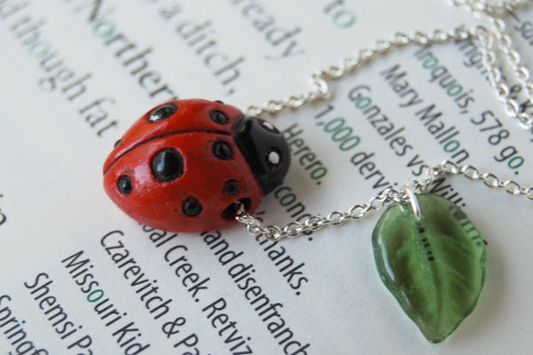 Ladybug Necklace | Handmade Ladybug Charm Necklace | Cute Ladybird Pendant - Enchanted Leaves - Nature Jewelry - Unique Handmade Gifts