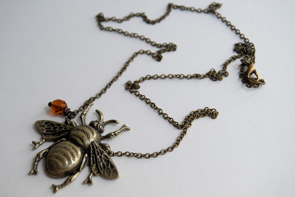 Large Brass Honey Bee Necklace | Bumble Bee Pendant | Cute Insect Jewelry - Enchanted Leaves - Nature Jewelry - Unique Handmade Gifts