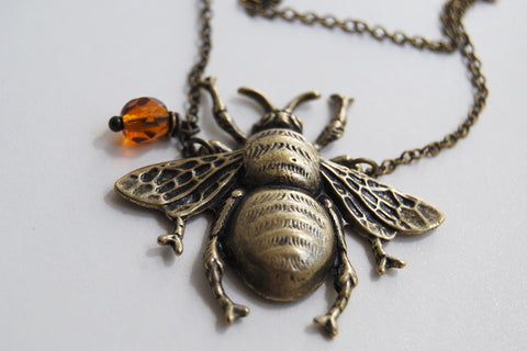 Large Brass Honey Bee Necklace