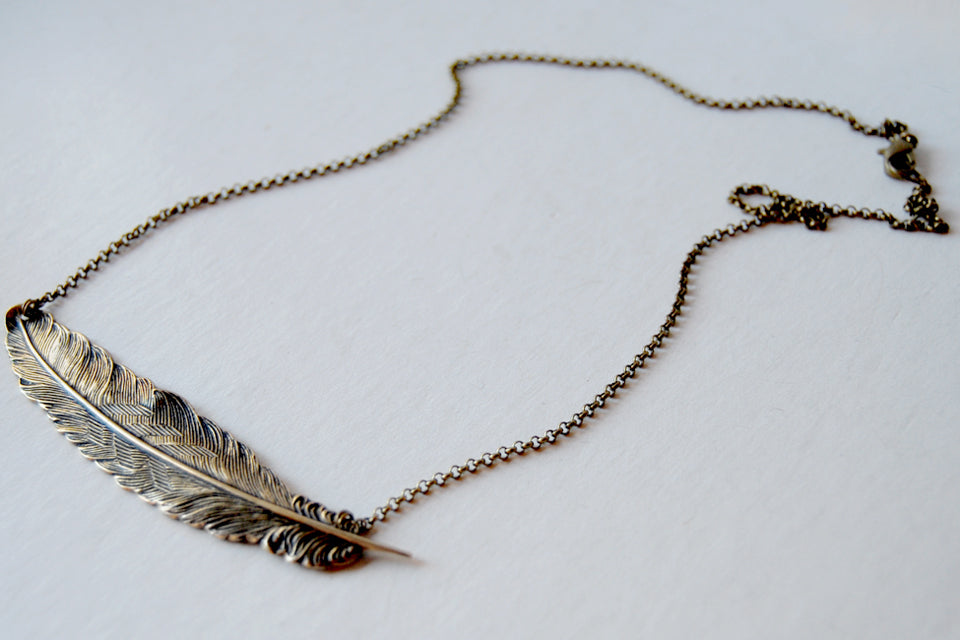 Large Brass Feather Necklace | Feather Pendant | Boho Jewelry - Enchanted Leaves - Nature Jewelry - Unique Handmade Gifts