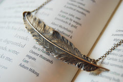 Large Brass Feather Necklace