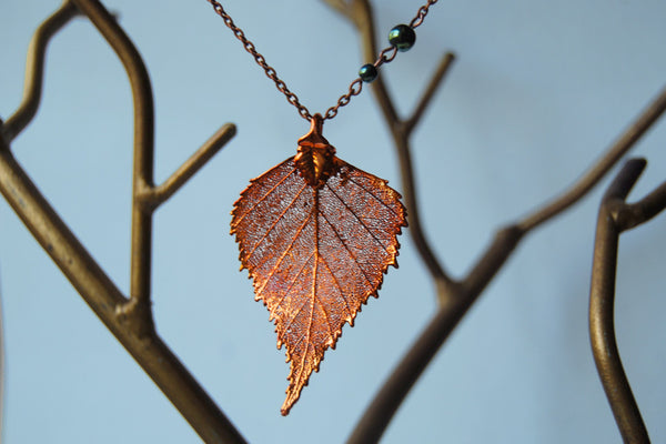 Custom Medium Copper Birch Leaf Necklace | REAL Birch Leaf Electroformed Pendant | Nature Jewelry - Enchanted Leaves - Nature Jewelry - Unique Handmade Gifts