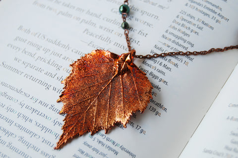 Extra Large Fallen Copper Birch Leaf Necklace