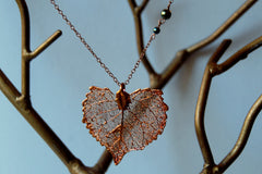 Custom Large Copper Cottonwood Leaf Necklace