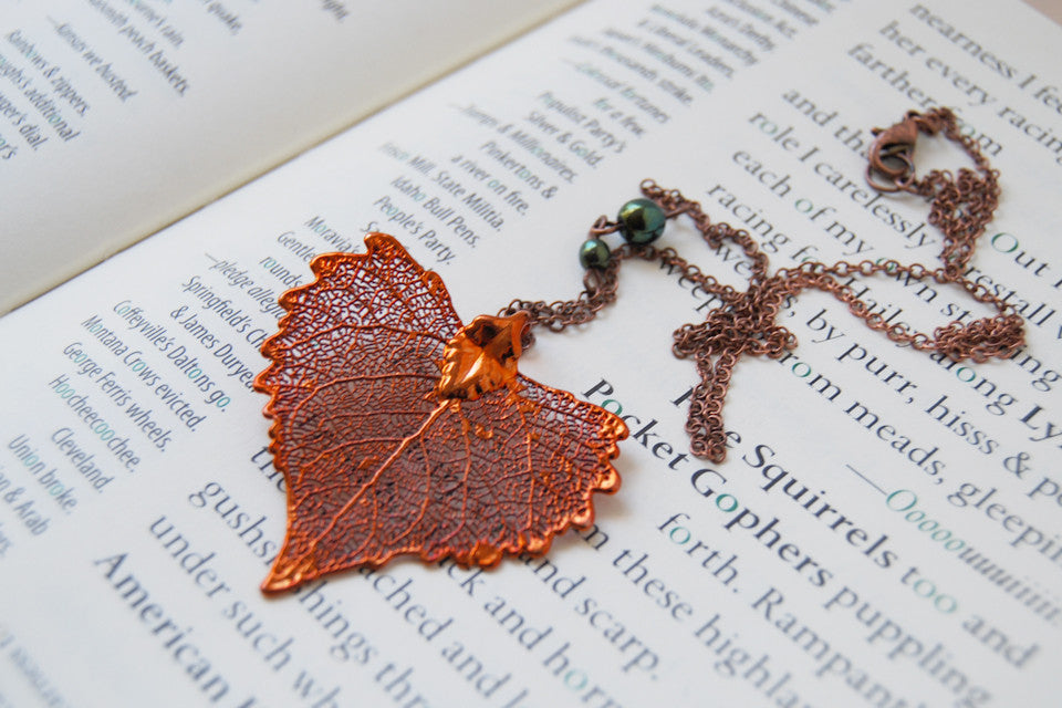 Large Fallen Copper Cottonwood Leaf Necklace | REAL Cottonwood Leaf Pendant | Copper Electroformed Pendant | Nature Jewelry - Enchanted Leaves - Nature Jewelry - Unique Handmade Gifts