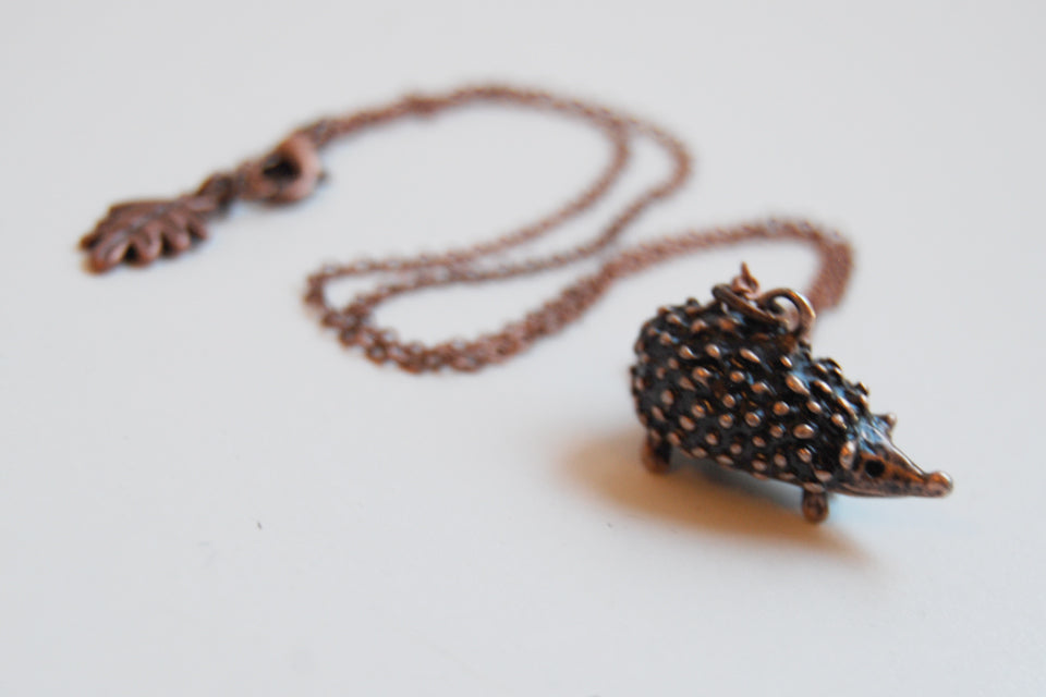 Large Copper Hedgehog Necklace | Cute Hedgehog Charm Necklace | Hedgie Pendant - Enchanted Leaves - Nature Jewelry - Unique Handmade Gifts